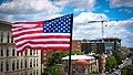 2017.07.02 Rainbow and US Flags Flying Washington, DC USA 7206 (34831754624).jpg