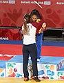 2018-10-07 Judo Girls' 44 kg at 2018 Summer Youth Olympics – Victory ceremony (Martin Rulsch) 15.jpg