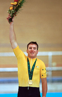 211000 - Cycling track Matthew Gray gold medal podium - 3b - 2000 Sydney medal photo.jpg