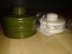 Gas mask - An asbestos-containing Russian GP-5 filter and a safe modern one in comparison.