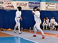 2nd Leonidas Pirgos Fencing Tournament. Preparation of an attack for the fencer on the right.jpg
