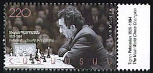 Tigran Petrosian - To commemorate the 75th anniversary of his birth, the Republic of Armenia issued this 220 dram stamp on February 25, 2005.
