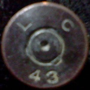 Lake City Army Ammunition Plant - Headstamp of a .50 caliber cartridge casing made at the Lake City Army Ammunition Plant in 1943 and recovered from the Sahuarita Bombing and Gunnery Range in 2012.