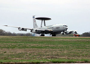 513th Air Control Group - An E-3 Sentry lands here on the Tinker runway on 23 March 2007, after completing one of the many missions done by the aircraft since its arrival at Tinker 30 years ago