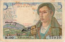 5 francs Berger, Face recto