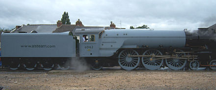 60163 Tornado, a new express locomotive built for the British main line, completed in 2008 60163 Tornado side on.jpg