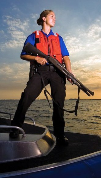 Remington Model 870 - A U.S. Air Force Security Forces Marine Patrol airman from MacDill AFB with an M870.