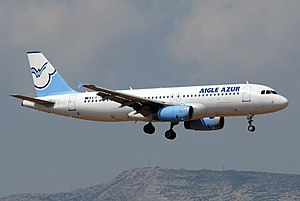 Aigle Azur - An Aigle Azur Airbus A320 reg. F-HBAE in the airline's old livery landing at Athens International Airport (August 2008).