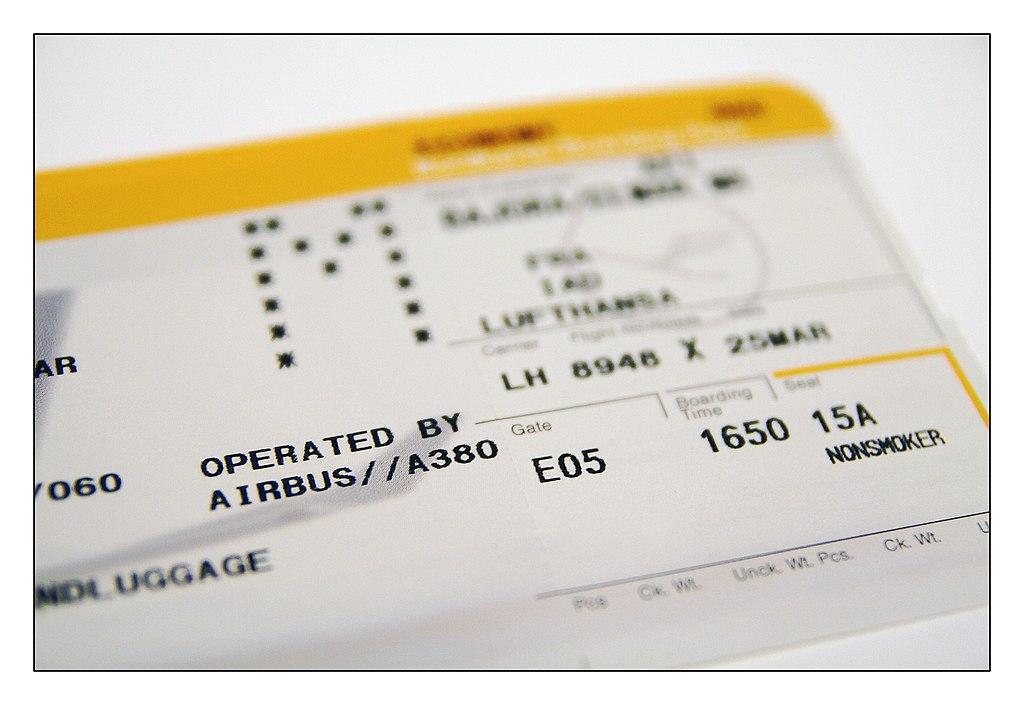 A380 Boarding card