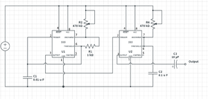 Atari Punk Console - Circuit diagram of an implementation of Atari Punk Console