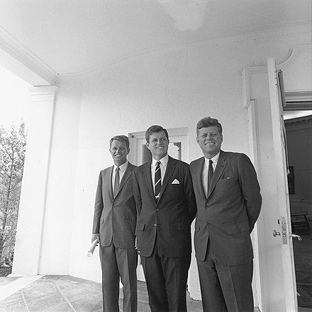 The Kennedy brothers: Attorney General Robert F. Kennedy, Senator Ted Kennedy, and President John F. Kennedy in 1963 ARC194238-JFK-Robert-Edward.jpg