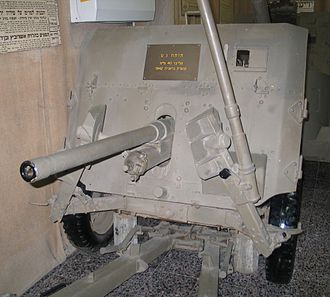 Ordnance QF 2-pounder - The QF 2 pounder in Batey ha-Osef Museum, Israel. Note the folded legs of the carriage.
