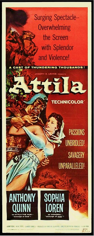 Attila (1954 film) - Poster for ATTILA, US release, 1958.