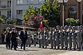 A Chilean military honor guard greets U.S. Defense Secretary Chuck Hagel as he arrives at the Defense Ministry in Santiago, Chile 141011-D-DT527-537c.jpg
