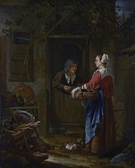 A Girl selling Grapes to an old Woman