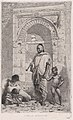 A Moroccan family in front of an arch, father standing, mother lower left on the ground holding a child MET DP876124.jpg