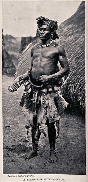 "Zande people - Niam-Niam ""witch doctor"" (medicine man or sham), equatorial Africa by Richard Buchta"