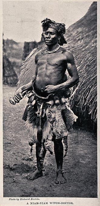 "Zande people - Niam-Niam ""witch doctor"" (medicine man or sham), equatorial Africa by Richard Buchta"