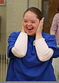 A Special Olympics athlete celebrates after completing a beach basketball challenge during the 2011 Onslow County fall games Dec 111202-M-JO751-138.jpg