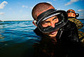 A U.S. Air Force pararescue trainee participates in a swimming exercise at Calaveras Lake in San Antonio, Texas, Aug. 17, 2011 110817-F-RH756-445.jpg
