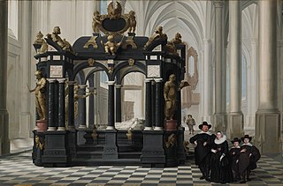 A Family beside the Tomb of Prince William i in the Nieuwe Kerk, Delft