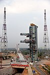 A view of the Umbilical Tower of the Second Launch Pad with GSLV-F08 in the background.jpg