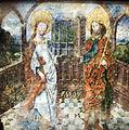 Aachener Domchor, Polygonwand 1. (Ausschnitt) Heinrich II. und Kunigunde die gemeinsam ein Kirchenmodell tragen.jpg