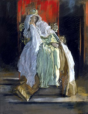 "The lady doth protest too much, methinks - The Queen in ""Hamlet"" by Edwin Austin Abbey"