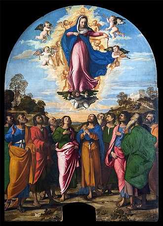 Girdle of Thomas - Palma Vecchio, Assumption of Mary, who is removing her belt as Thomas (above the head of the apostle in green) hurries to the scene