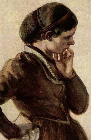 Snood (headgear) - 19th Century painting of a woman wearing a snood (by Adolph Menzel)