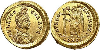 Aelia Eudocia - A coin depicting a portrait of Aelia Eudocia, 425–429 AD.