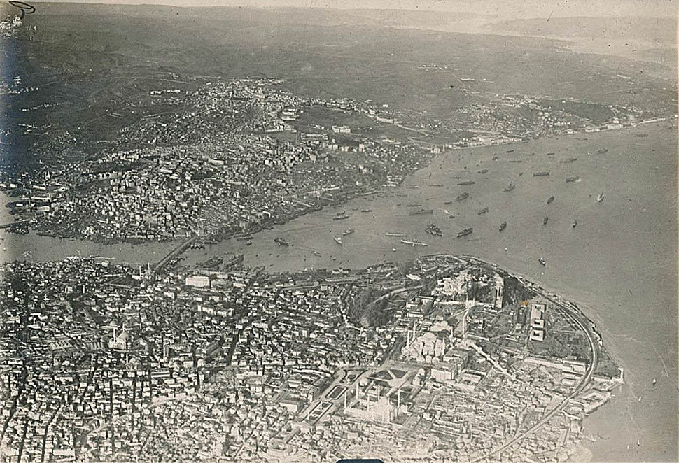 Aerial view of Istanbul on 19 March 1918