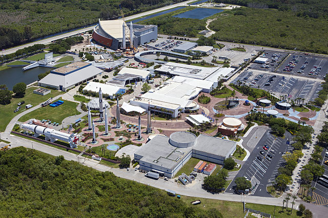 Aerial view of most of the KSC visitor complex