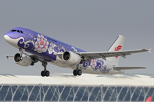 Air China A320-214 (B-2376) taking off from Shanghai Pudong International Airport