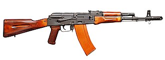 "AK-74 - Early AK-74 with ""bakelite"" magazine and laminated wood furniture"