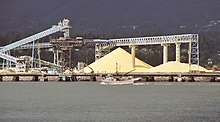 These conveyor structures contain belts for moving bulk sulfur from railcars to storage piles and from the piles to ships.