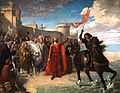 Alfonso X el Sabio tomando posesión del mar después de la conquista de Cádiz. Matías Moreno. 1866.jpg