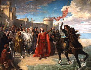 Alfonso of Molina - Alfonso X taking possession of the sea after the conquest of Cádiz. Matías Moreno. 1866.