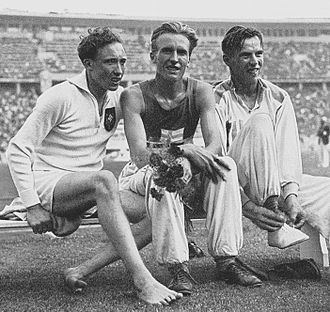 Athletics at the 1936 Summer Olympics – Men's 3000 metres steeplechase - Alfred Dompert, Volmari Iso-Hollo and Kaarlo Tuominen after the final race