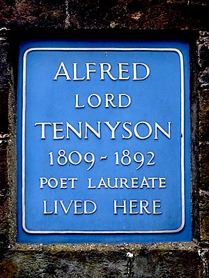 Chapel House, Twickenham - Tennyson plaque at 15 Montpelier Row