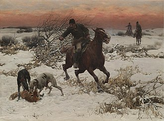 Coursing - The Hunter, oil on canvas, Alfred Kowalski