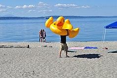 Alki Beach - man with duck float 02.jpg