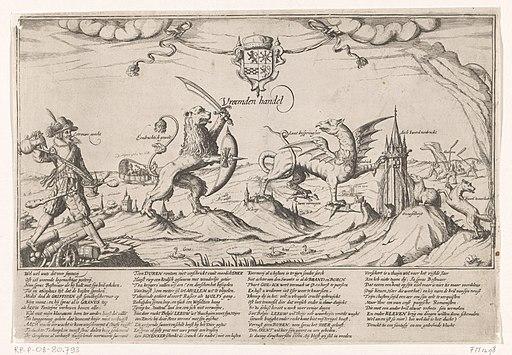 Allegorie op Maurits en Spinola in de Gulik-Kleefse kwestie, 1614 Vreemden handel (titel op object), RP-P-OB-80.793