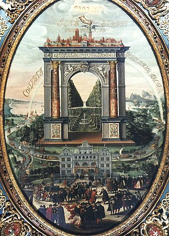 Gdańsk - Apotheosis of Gdańsk by Izaak van den Blocke. The Vistula-borne trade of goods in Poland was the main source of prosperity during the city's Golden Age.