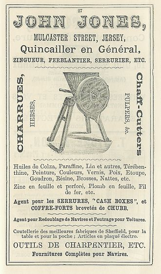 Chaff cutter - Advertisement for a chaff cutter from the Almanac of La Nouvelle Chronique de Jersey, 1892 from the island of  Jersey.