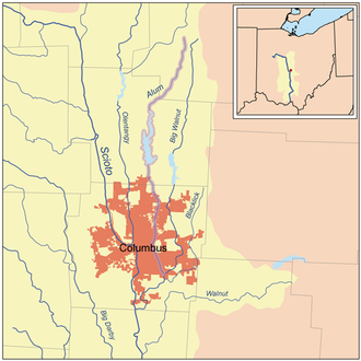 Alum Creek (Ohio) - Map of Alum Creek highlighted within the Scioto River watershed.