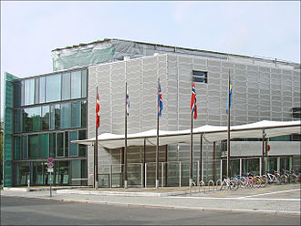 Diplomatic mission - An example of multiple embassies in one location: Embassies of Denmark, Finland, Iceland, Norway, and Sweden to Germany in Berlin