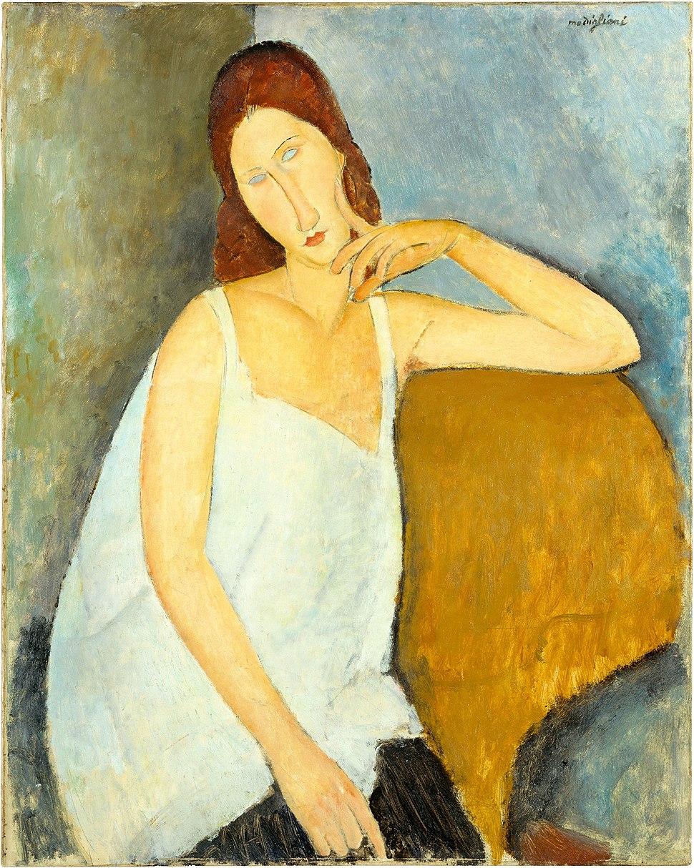 Amedeo Modigliani, 1919, Jeanne H%C3%A9buterne, oil on canvas, 91.4 x 73 cm, Metropolitan Museum of Art