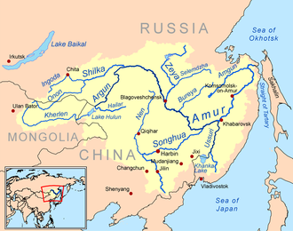 Sino-Russian border conflicts - The Amur Basin with modern national borders. Nerchinsk is on the lower Shilka, Albazin on the northern loop of the Amur, Kumarsk somewhat downstream, Aigun at the mouth of the Zeya and Achansk at Khabarovsk.