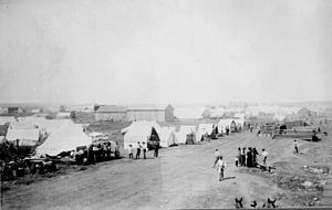 Anadarko Townsite, Oklahoma Territory, August 8, 1901. Tent city in the cornfield.